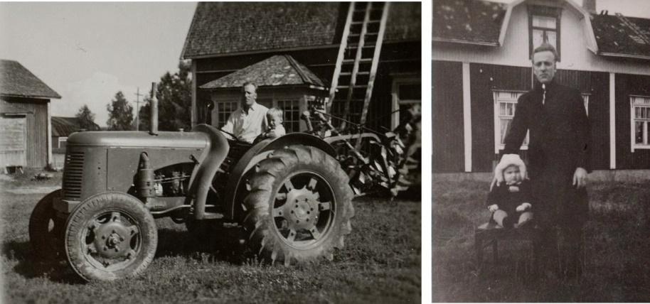 Eskil var intresserad av maskiner och här sitter han på traktorn utanför Koll-gården tillsammans med sonen Ralf, f. 1944. På fotot till höger står Eskil utanför Hildurs barndomshem med sonen Ralf i mitten på 40-talet.