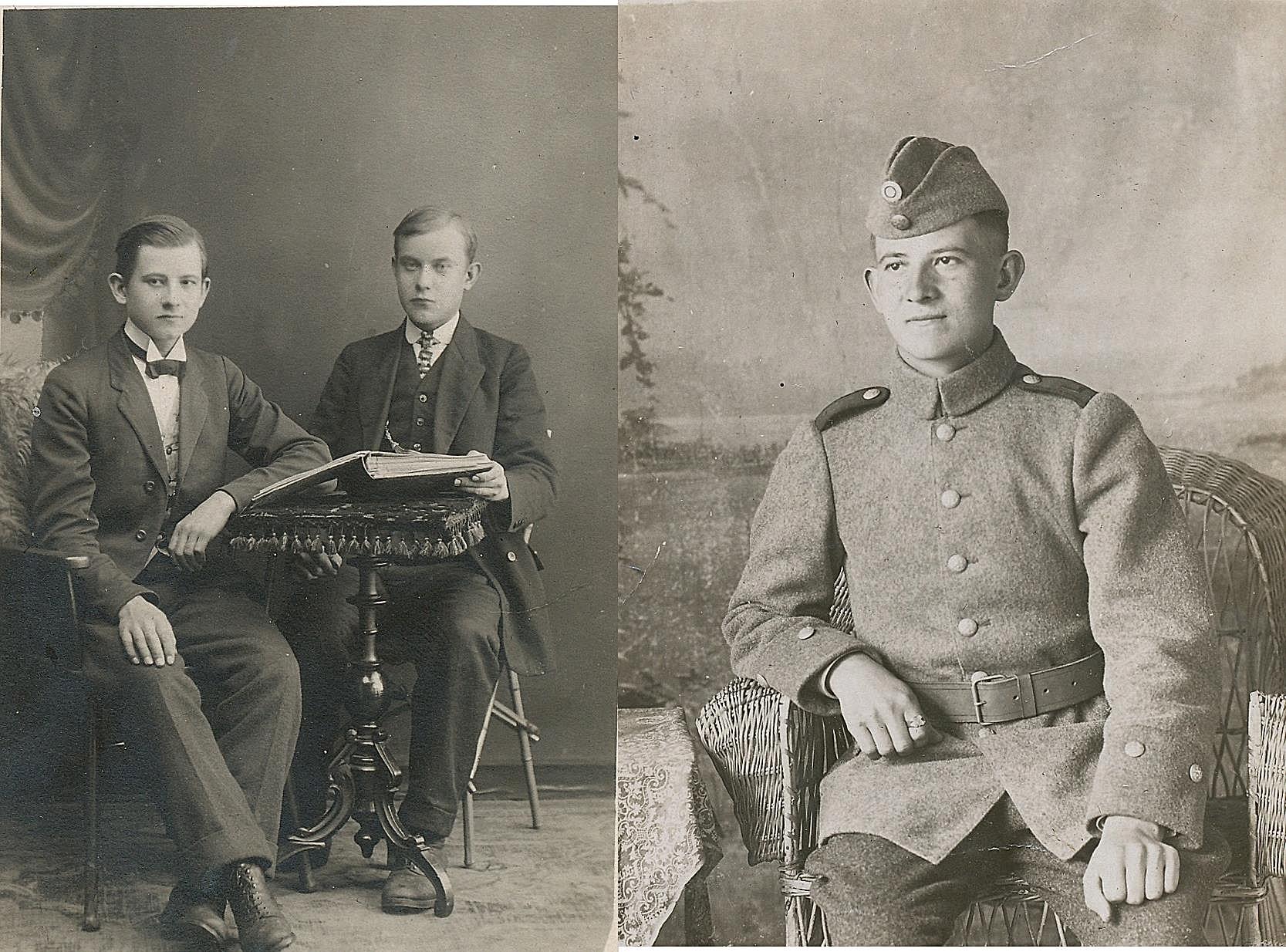På bilden till vänster Oskar tillsammans med sin bror Frans ungefär år 1916. På bilden till höger Oskar i den nybildade finska militären, troligtvis 1918 just då Finland blivit självständigt.