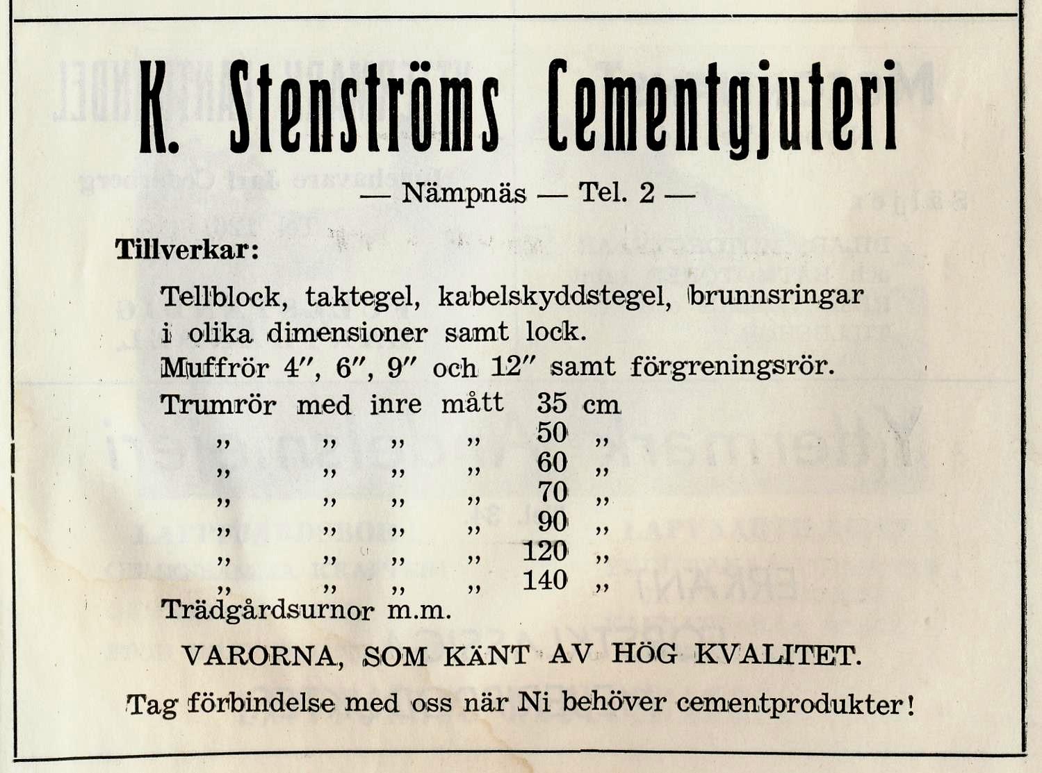 Så här kunde Stenström annonsera i tidningarna på 50-talet.