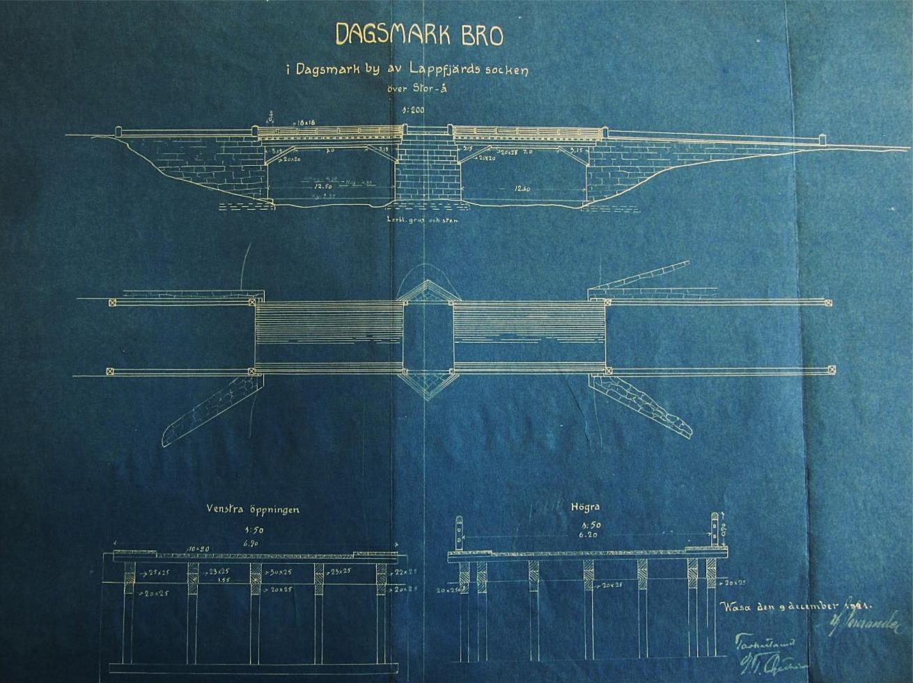 """År 1921 ville Herr Landshövdingen i Vasa ha en utredning över broarnas skick i Lappfjärd. På den tiden fanns det i kommunen endast 3 broar som underhölls av staten, nämligen Pärus bron, Stor-eller Nybron i Lappfjärd och Dagsmark Bron. På grund av detta gjorde äldre ingeniören Hjalmar Sourander undersökningar som visade att bron i Pärus som var byggd så sent som 1913 var av så dålig konstruktion """"att dennas bärförmåga inte beräknas till mycket mera än dess egen tyngd, och kan därför icke godkännas"""". Dagsmark Bro som den då kallades blev däremot godkänd."""