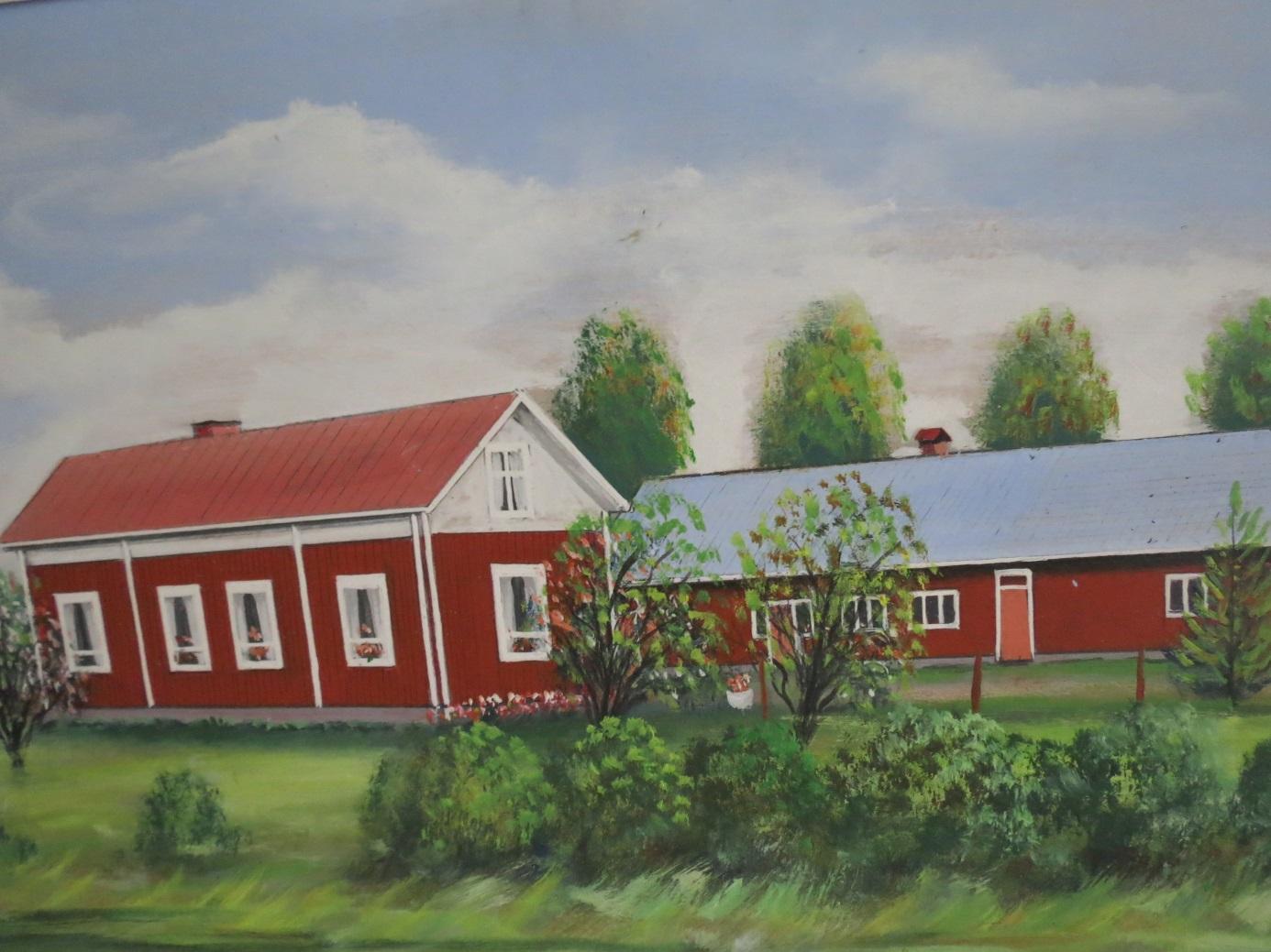 Rosbloms målning av Emil och Huldas gård.