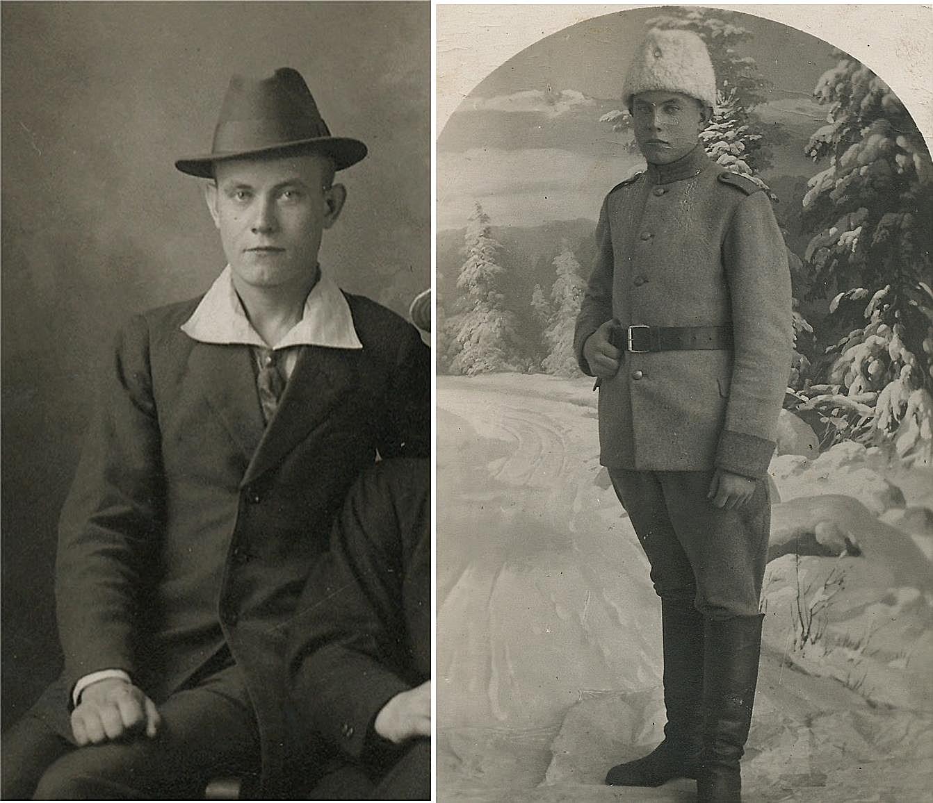Till vänster Frans Kaskimäki i Canada år 1925 och till höger är Frans i militären på Åland år 1918.