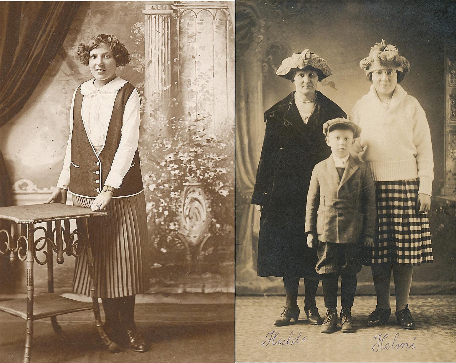 På bilden till vänster Helmi som bodde i USA till sin död 1988. På bilden till höger står Helmi tillsammans med sin storasyster Hulda Hill tillsammans med sin son Walter.