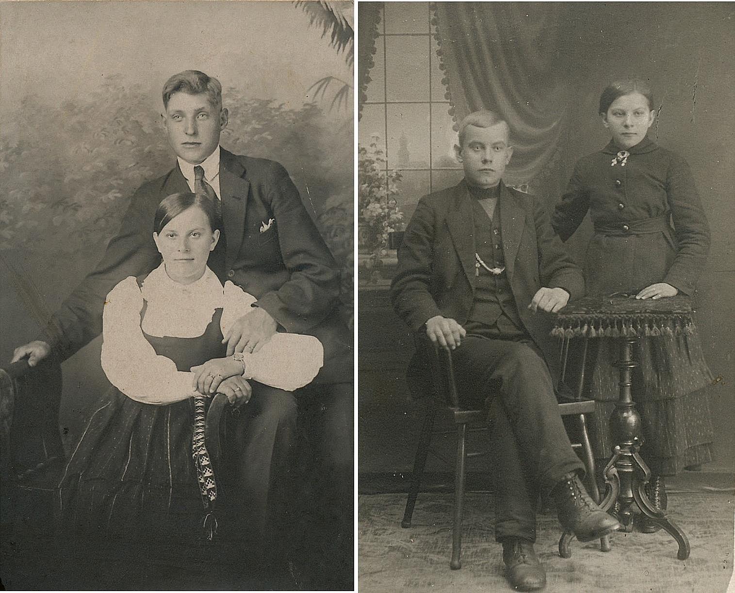 På fotot till vänster yngsta dottern Hilma Kaskimäki tillsammans med sin man Emil Sigg, de bodde en tid på Byåsen i en gård som stod där stadens radhus står i dag, sedan bodde de i Helsingfors. På bilden till höger Hilma tillsammans med sin bror Frans år 1918.