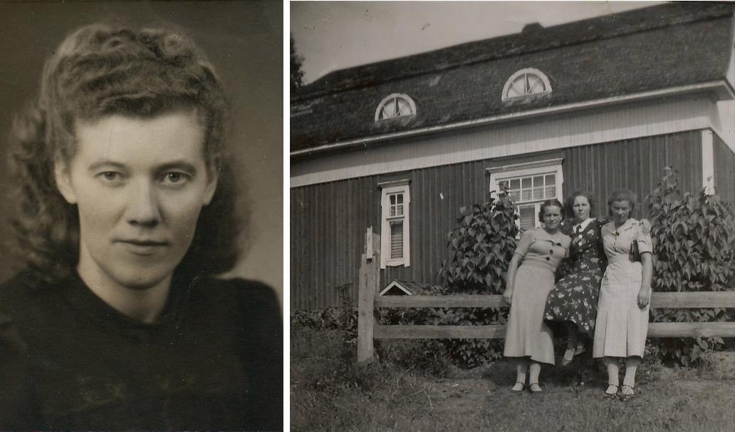 Ragni på bilden t.v. På bilden till höger står Elvi Holmudd, Lilja Nordberg och Ragni Eklund nedanför Westerbacks gård på Åddin.
