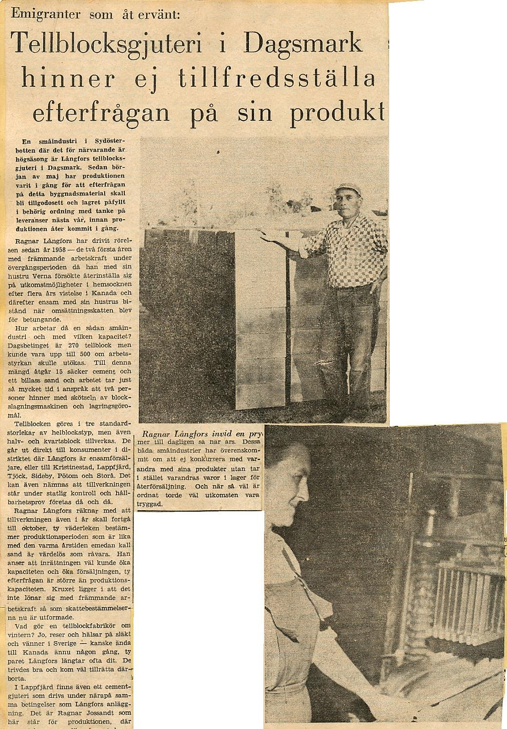 Tidningsartikel om Ragnar och Verna Långfors i början på 60-talet.