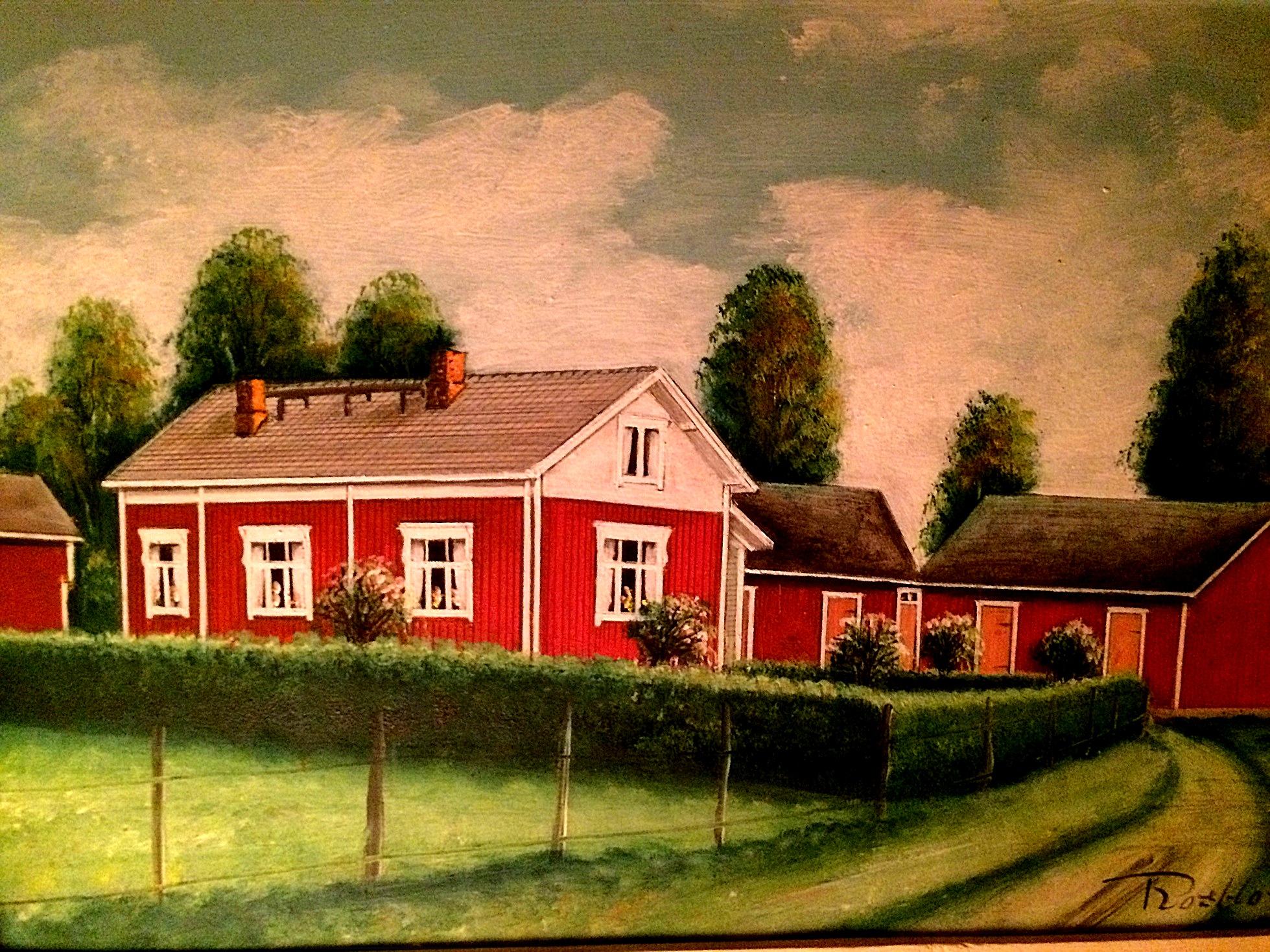 Så här såg Ahlbergs gård ut enligt konstnären Rosblom.