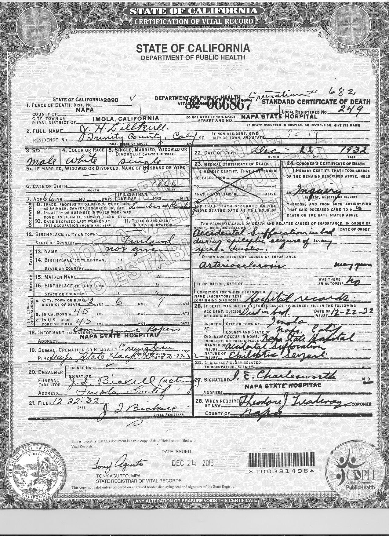 I denna dödsattest står det att Josef dog ogift på Napa State Hospital den 22 december 1932. Ett händelserikt liv var till ända och han dog utan arvingar.