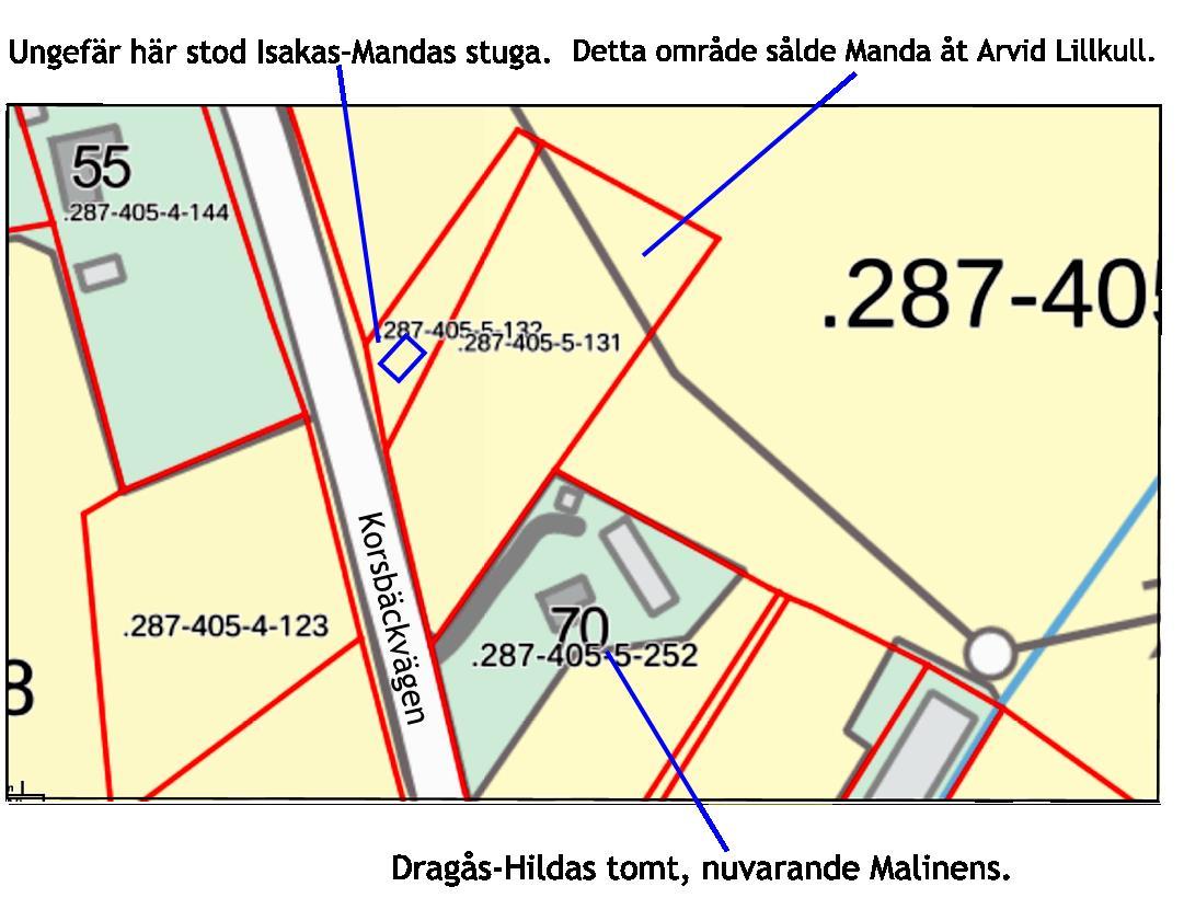 Området som Olga köpte av Lillträsk var ungefär ett halvt hektar stort.