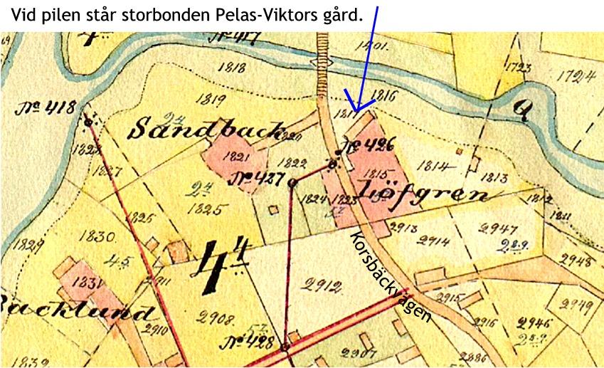 På den här kartan från början av 1900-talet syns både huvudbyggnaden och lillstugan, som står längs med Korsbäckvägen.