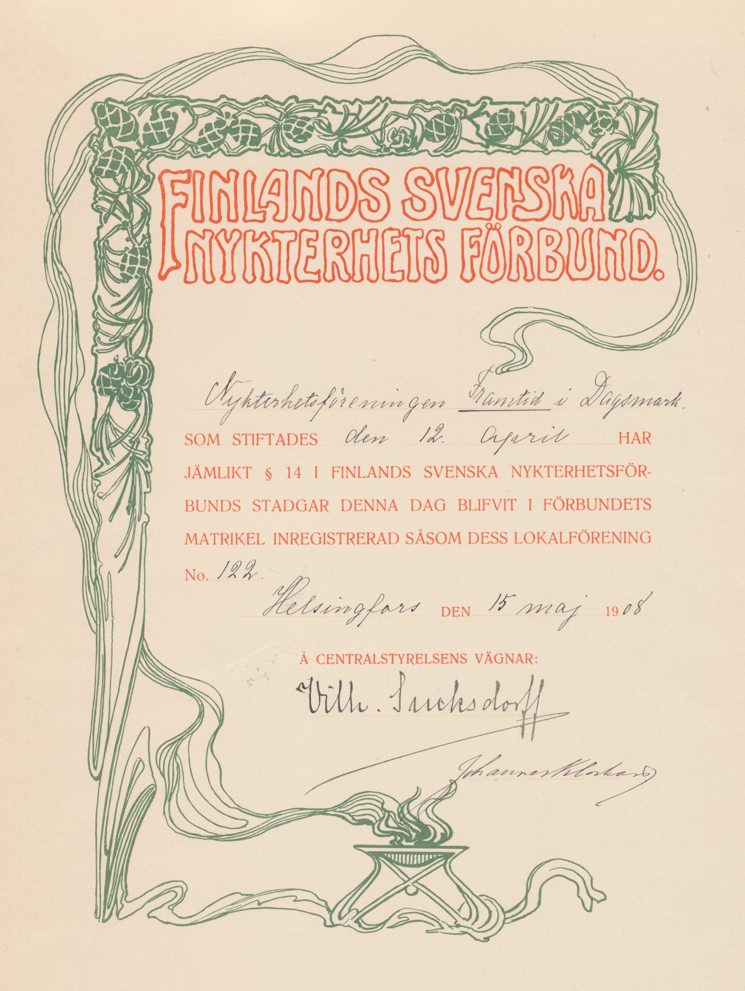 Här diplomet som visar att nykterhetsföreningen Framtid blivit medlem i Finlands Svenska Nykterhetsförbund.