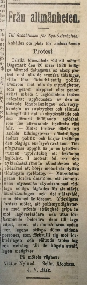 Så här såg protesten ut som föreningen publicerade i tidningen Syd-Österbotten den 7 april 1920.