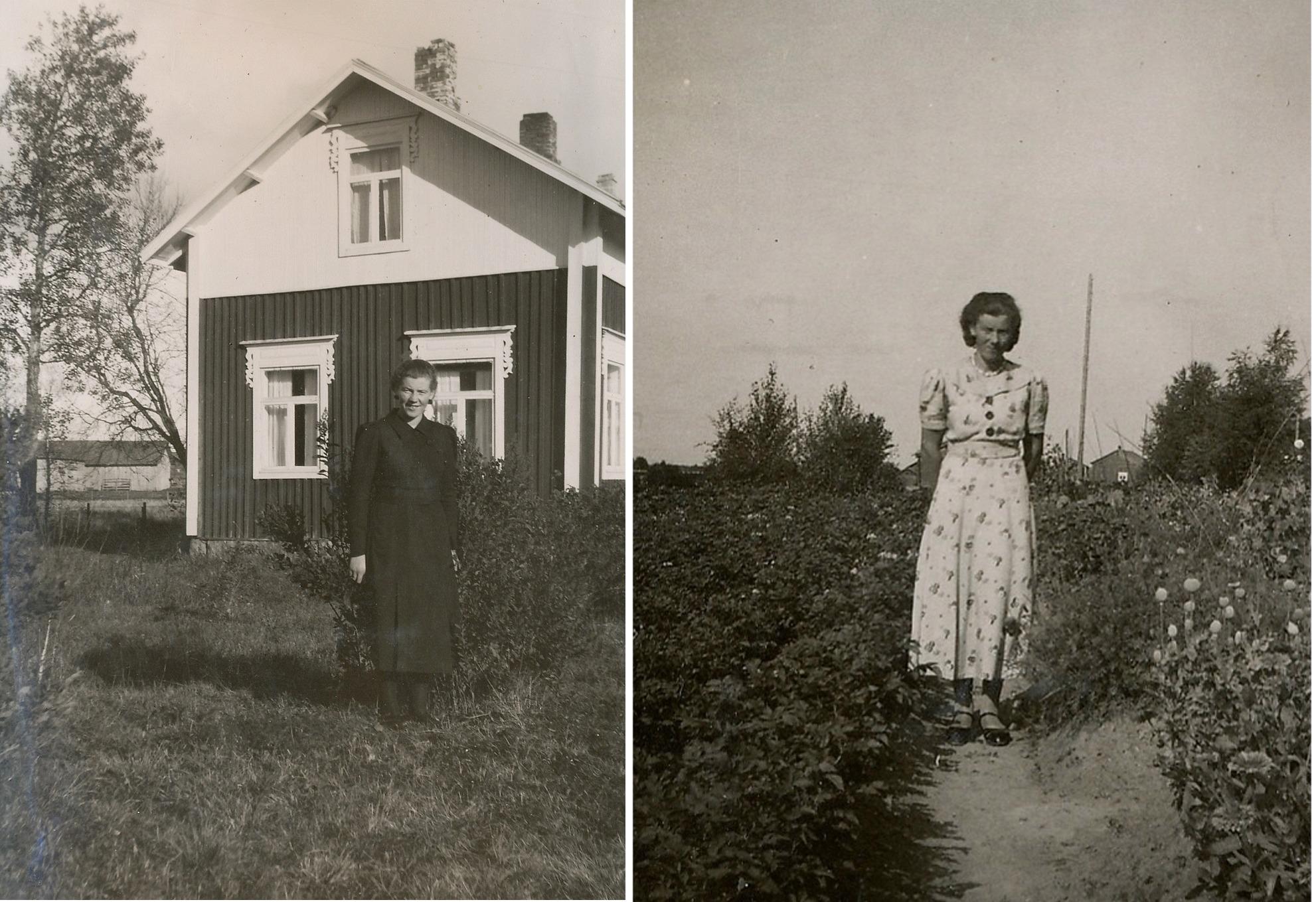 Här dottern Ragni Eklund på 2 bilder, till vänster står hon framför Eklunds gamla gård.