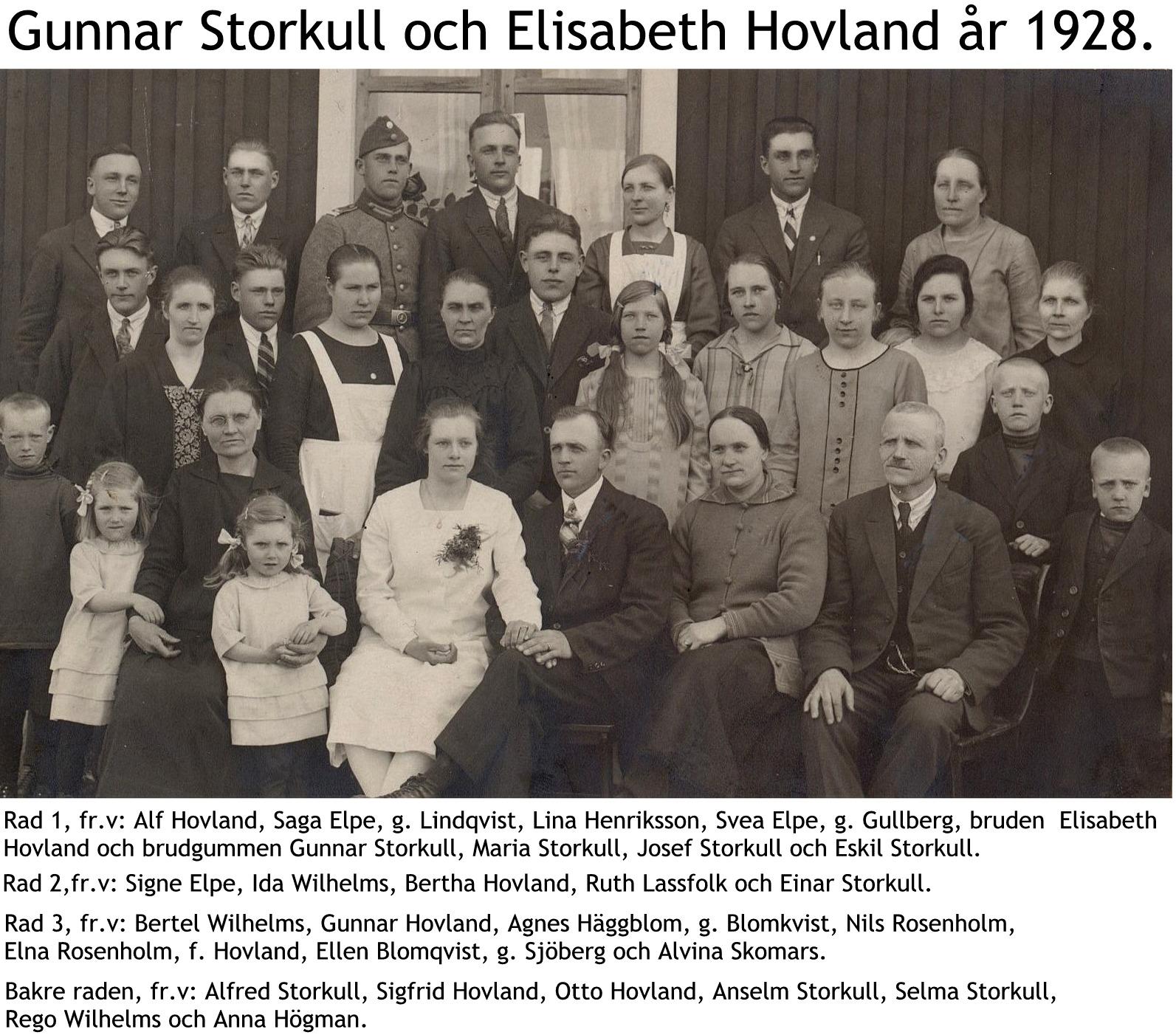 Storkull Gunnar och Lisbeths bröllopsfoto med namn