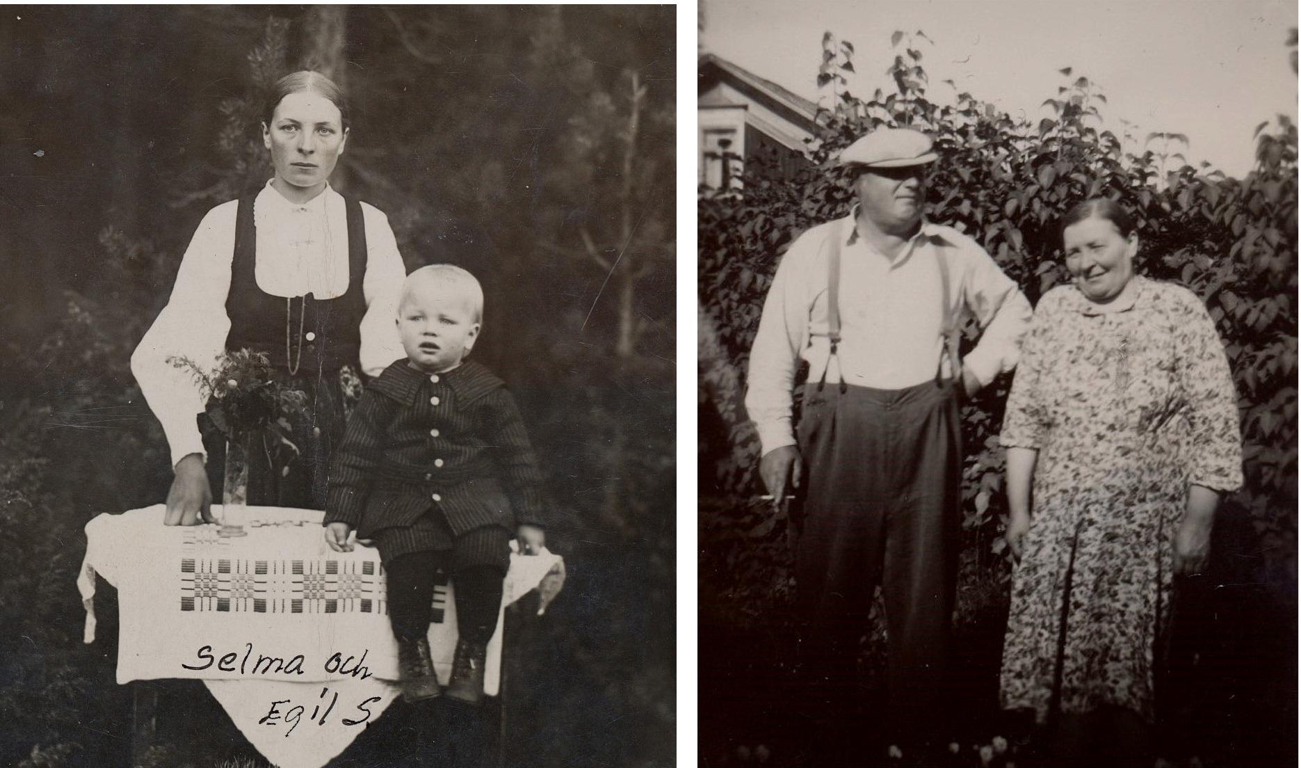 På bilden till vänster Selma Storkull med sonen Egil. Fotot är taget under tiden Evert vistades i Amerika På bilden till höger står Evert och Selma där hemma i trädgården.