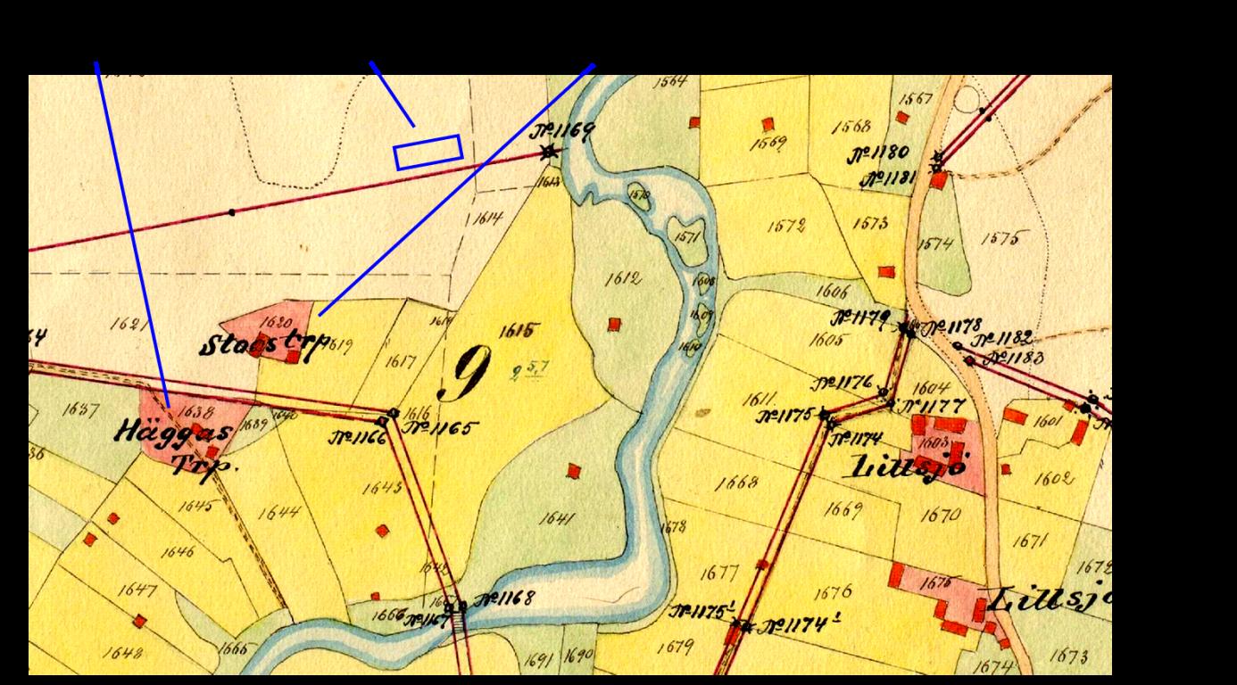 Här på storskifteskartan så ser vi var Stoas och Häggas torp låg i Lillsjö.