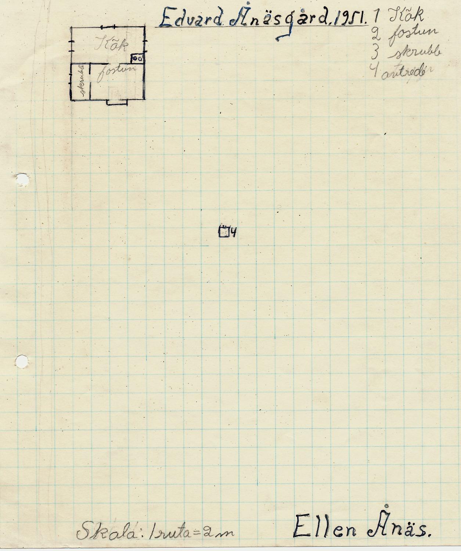 År 1951 så skulle eleverna i skolan göra en ritning av hemmet och så här hade Ellen Ånäs beskrivit hemmet på Ulla-Tå, nedanför Bergåsen. Gården bestod endast av ett kök, en farstu och en skrubb.