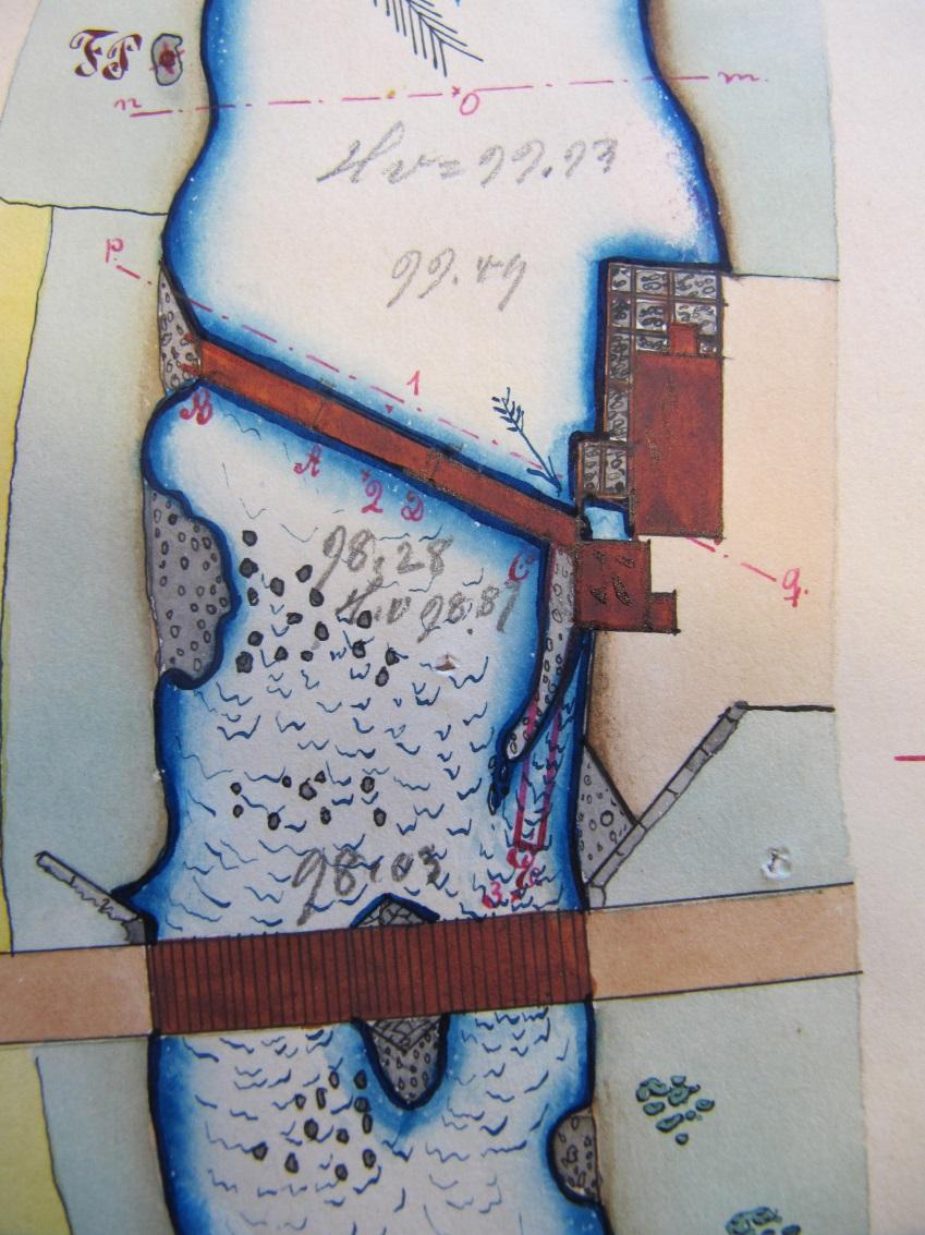 På kartan över Verkforsen från 1897 så ser hur och var sågkvarnen var placerad.