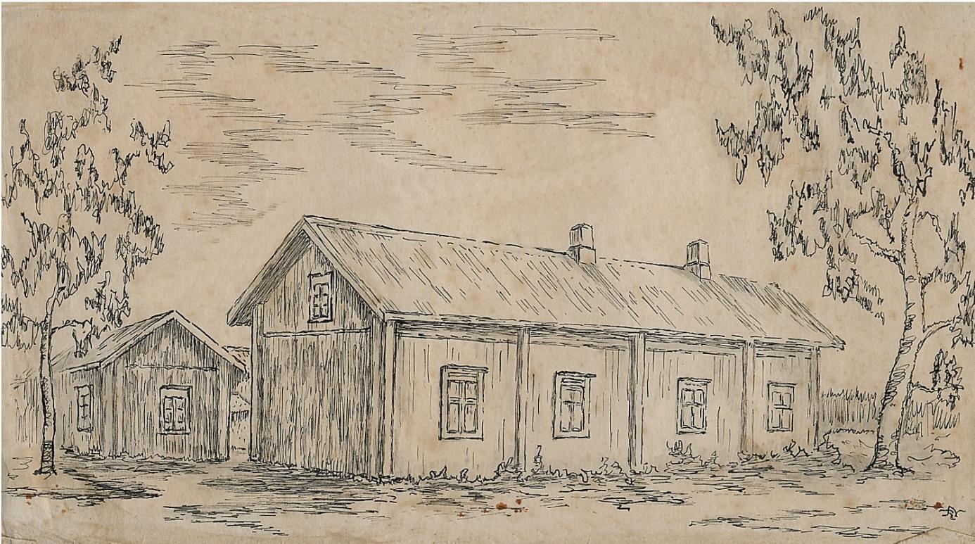 Gården ritad av Rurik Nylund ca 1946-47.