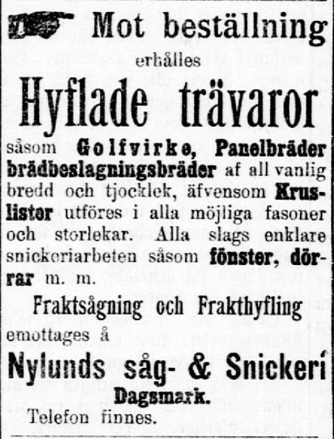 Här ser vi hur mångsidiga produkter som Viktors såg och snickeri kunde tillverka, året är 1909.