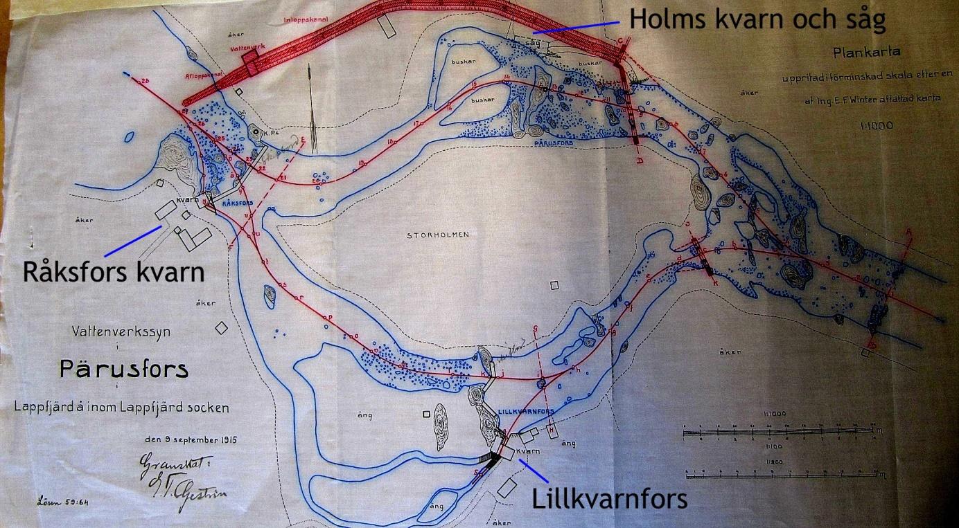 På kartan från år 1915 så ser vi bra var de 4 kvarnarna fanns i tiderna. Originalkartan finns på Landsarkivet i Vasa.