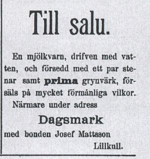 Tidningsannons i Syd-Österbotten år 1897.