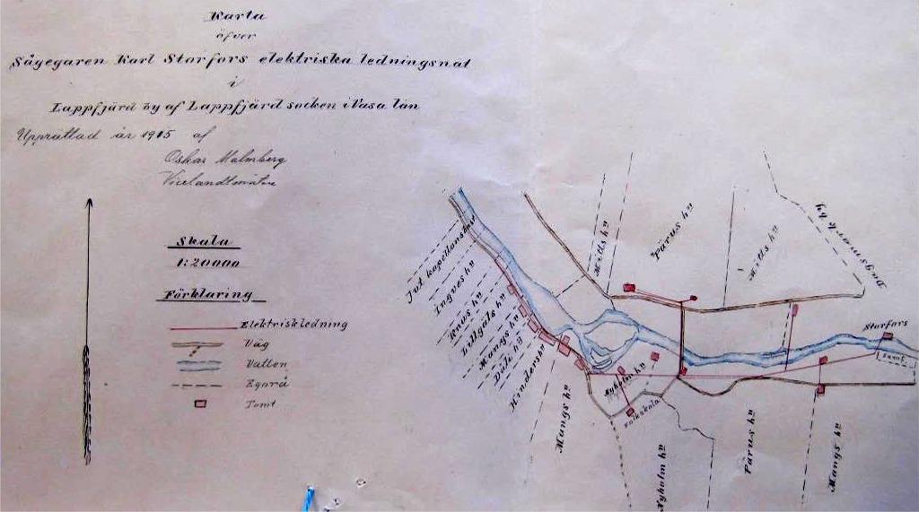 Ritningen över Karl Storfors elnät är lånad från Landsarkivet i Vasa. Kartan ritad 1915, alltså före Viktor Nylund började bygga kraftverket Pärus-Fors Ab.
