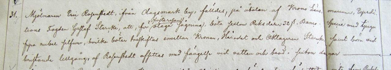 """Domboken från 1844 på Landsarkivet i Vasa, som visar att Rosenstedt dömts till böter eller till """"fängelse vid vatten och bröd""""."""