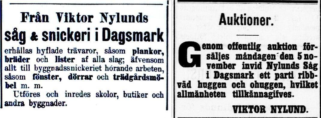 Redan från början var Viktor en flitig annonsör i tidningen Syd-Österbotten och det verkar som om marknadsföringen lyckats bra. Annonserna här ovan är från år 1905 och redan då ville han bygga både skolor och butiker.