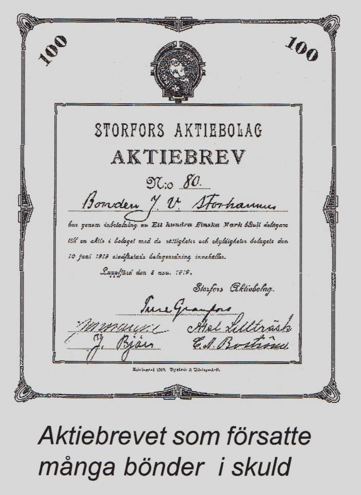 Aktiebrevet ur Erik Storhannus bok som handlade om Viktor Storhannus.