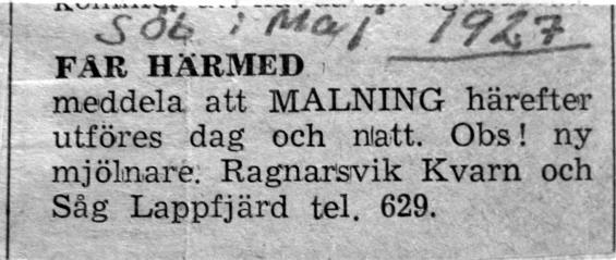 Det här torde vara Brobergs annons i Syd-Österbotten i maj 1927.
