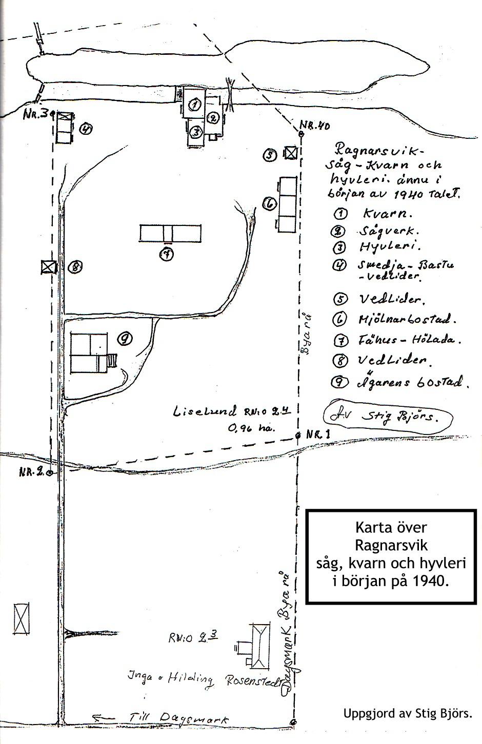 Här en karta över området såsom Stig Björs minns det, från 1940-talet när det var som störst.