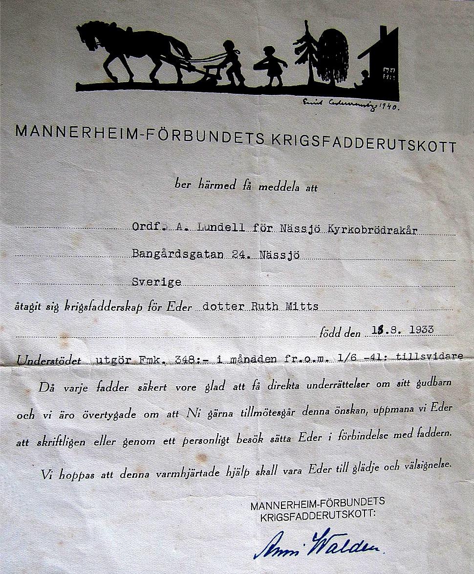 Alf Mitts fick regelbundet bidrag från Nora Missionsförenings ungdomsförbund i Tärnsjö i Sverige och systern Ruth fick bidrag från Nässjö Kyrkobrödrakår i Sverige, via dess ordförande Albert Lundell.