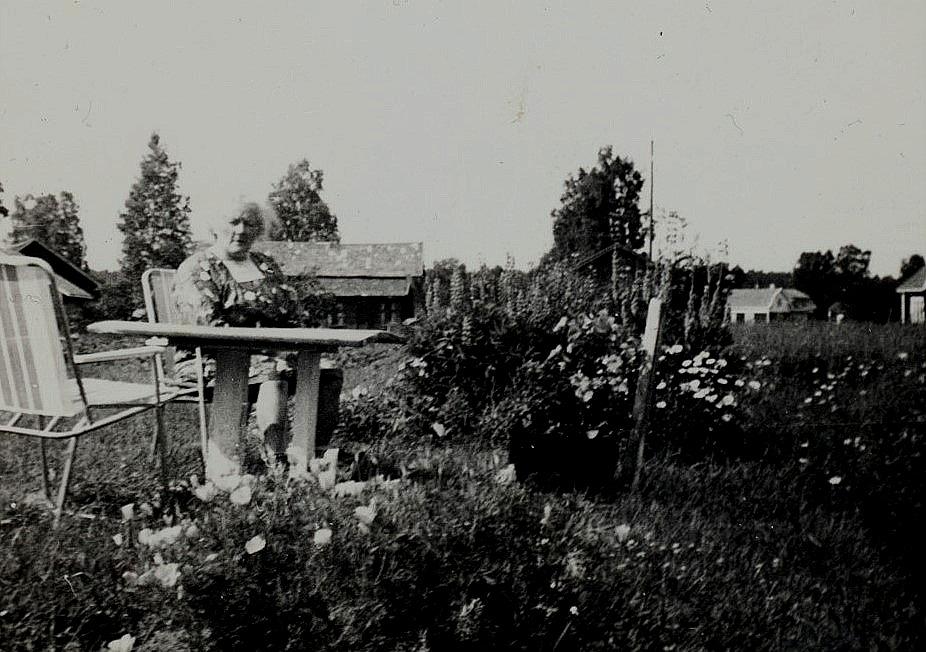 Här sitter Alice ute i trädgården. Bakom henne skymtar Rosengren Arturas, till höger Westerbacks gård på Åddin och i högra kanten syns en del av bönehuset.