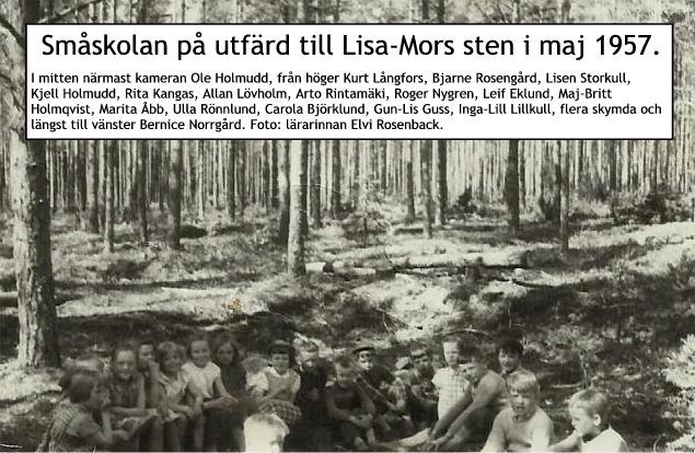 Småskolbarnen på utfärd till Byåsen 1957.
