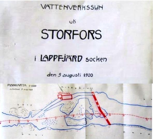 """Denna karta uppgjordes vid vattenverkssynen år 1920 och visar med rött var dammen och """"vattenverket"""" skulle byggas.."""