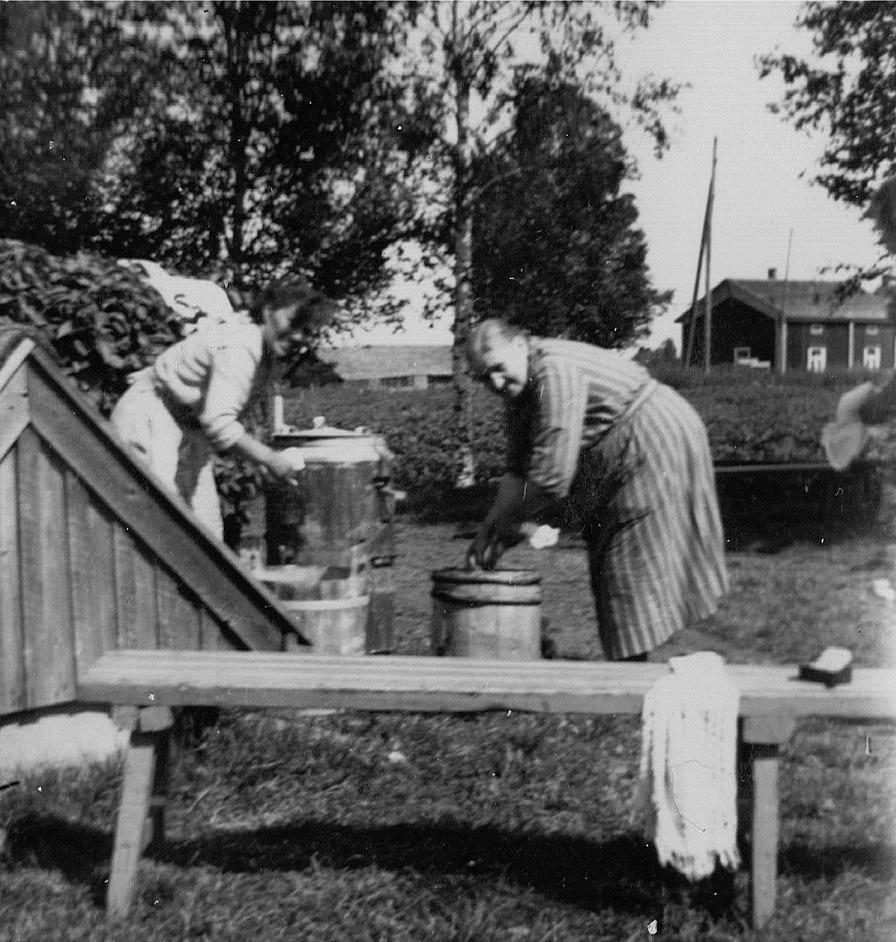 """På bilden av Broback-Alvina och någon av hennes döttrar så syns """"Gåbbinas-fleckoras"""" stuga på andra sidan landsvägen."""