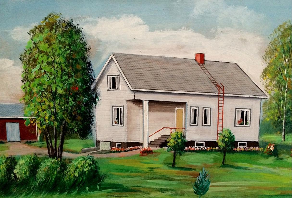 Enligt konstnären Rosblom så såg Lillkulls nya gård ut så här, sedd från öster.