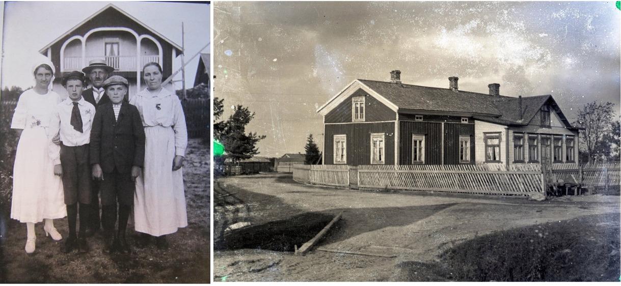 På familjeporträttet står Ida till höger och Viktor i mitten och framför står sonen Rurik. Gården på det större fotot är Viktors och Idas gård på Sunnantillvägen. Foton tagna av Viktor Nylund finns på Traditionsarkivet i Vasa.