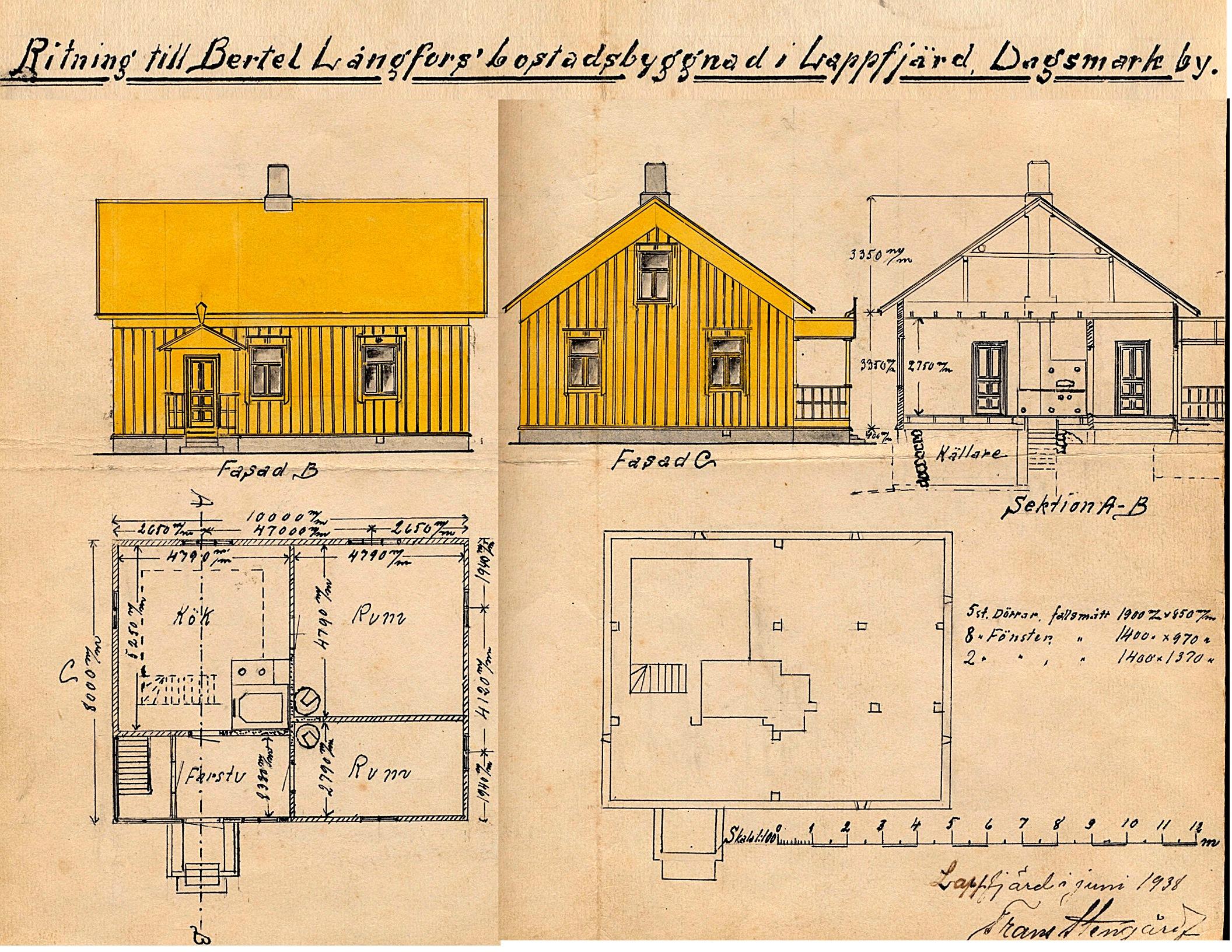 Så här fin ritning gjordes år 1938 då Långfors nya gård skulle byggas.
