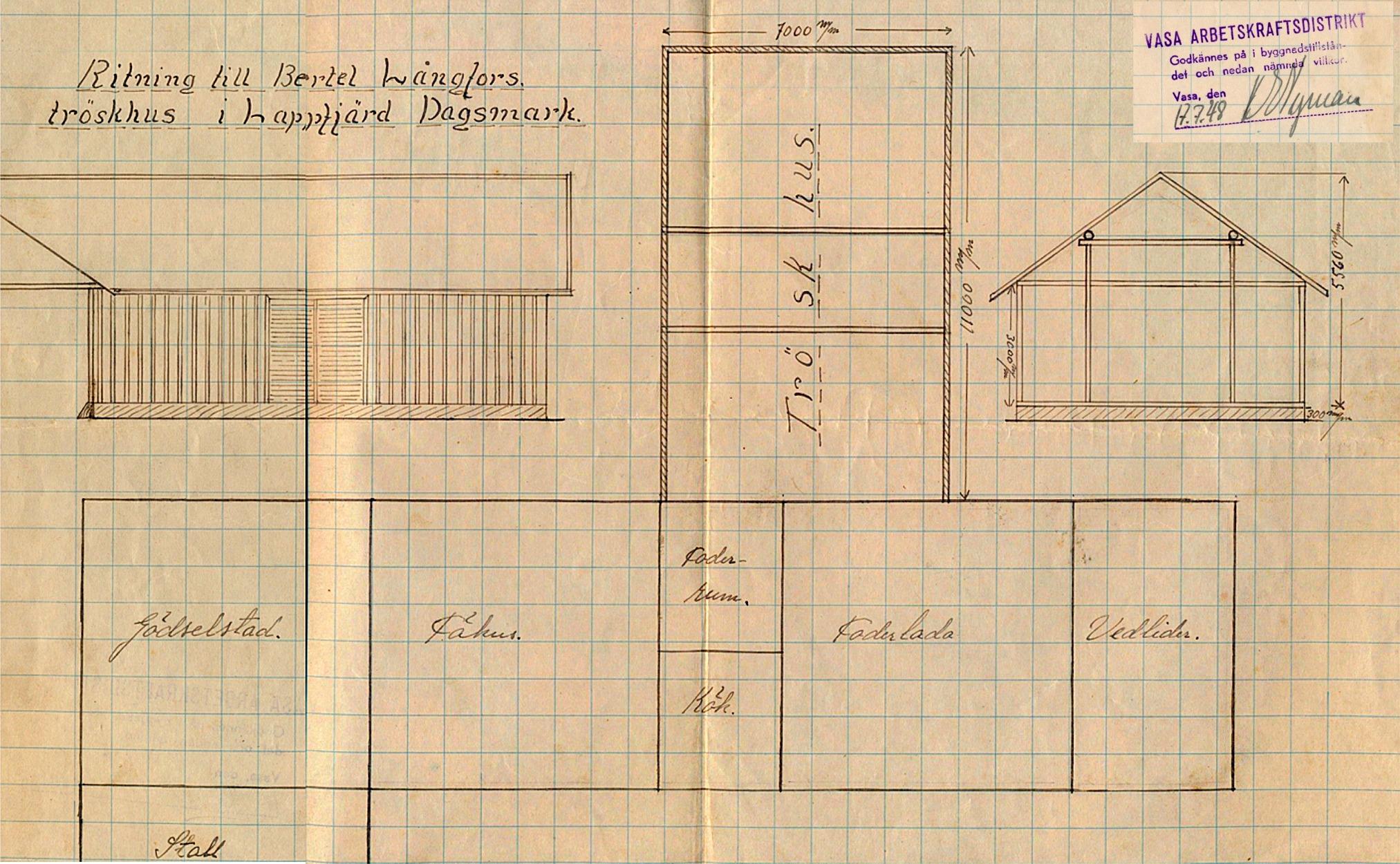 År 1948 gjordes denna ritning på uthuset skulle byggas till med ett tröskhus på baksidan.