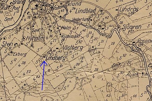 Här på sockenkartan från år 1935 så ser vi Lindbergs gård i ändan av Haga-tå.