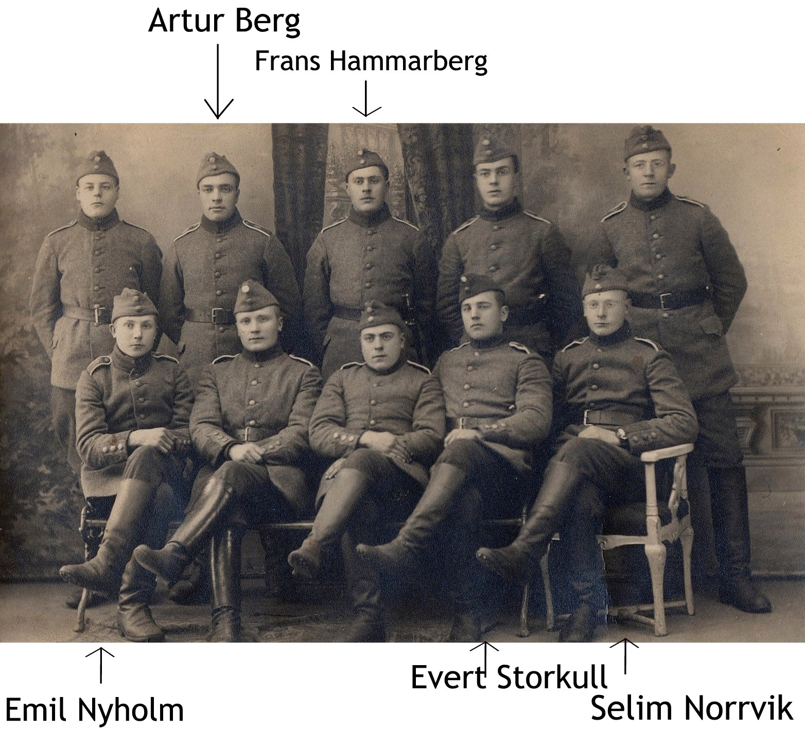 Efter en lång paus på flera år infördes allmän värnplikt i det självständiga Finland år 1918. De här herrarna var nog bland de första som ryckte in.