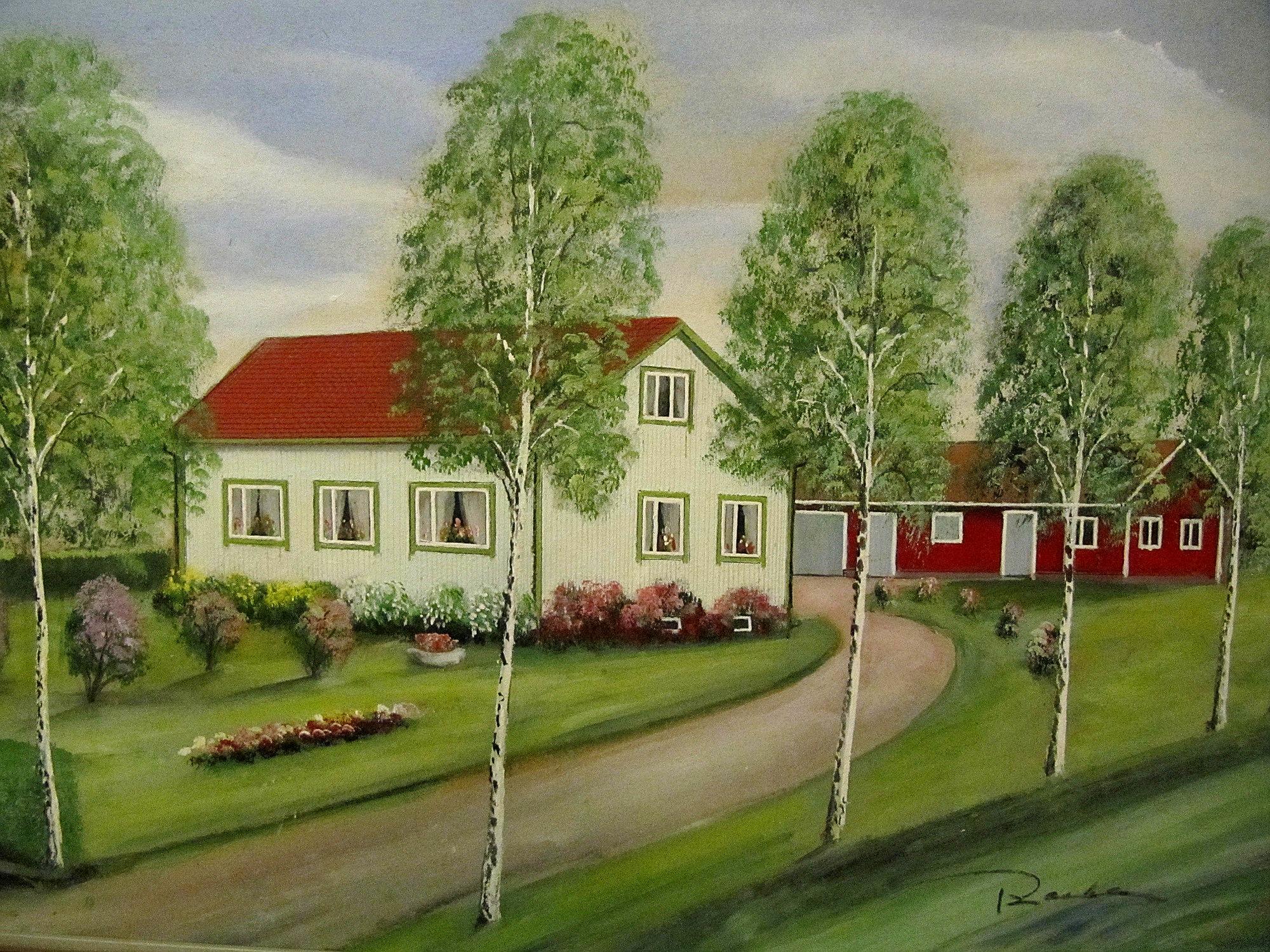 Ethel och Velis gård enligt konstnären Rosblom.