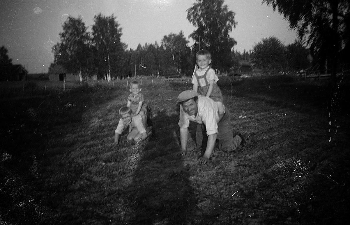 John och Kurt leker ryttare samtidigt som Per-Erik och Åke gallrar morotslanden bakom uthusen.