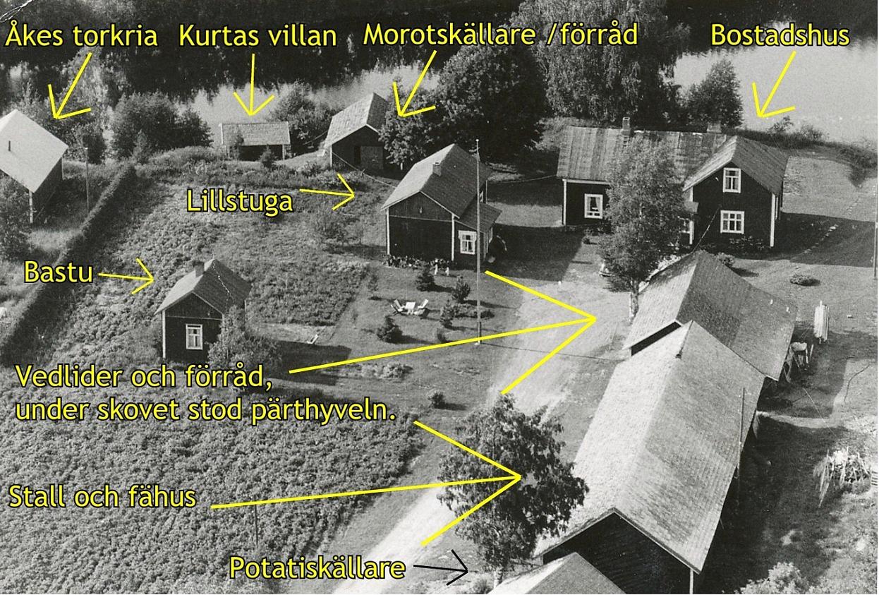 På detta flygfoto från 1971 syns de olika byggnaderna. Under skovet längst till höger stod pärthyveln som var i flitig användning på vårarna och försomrarna.