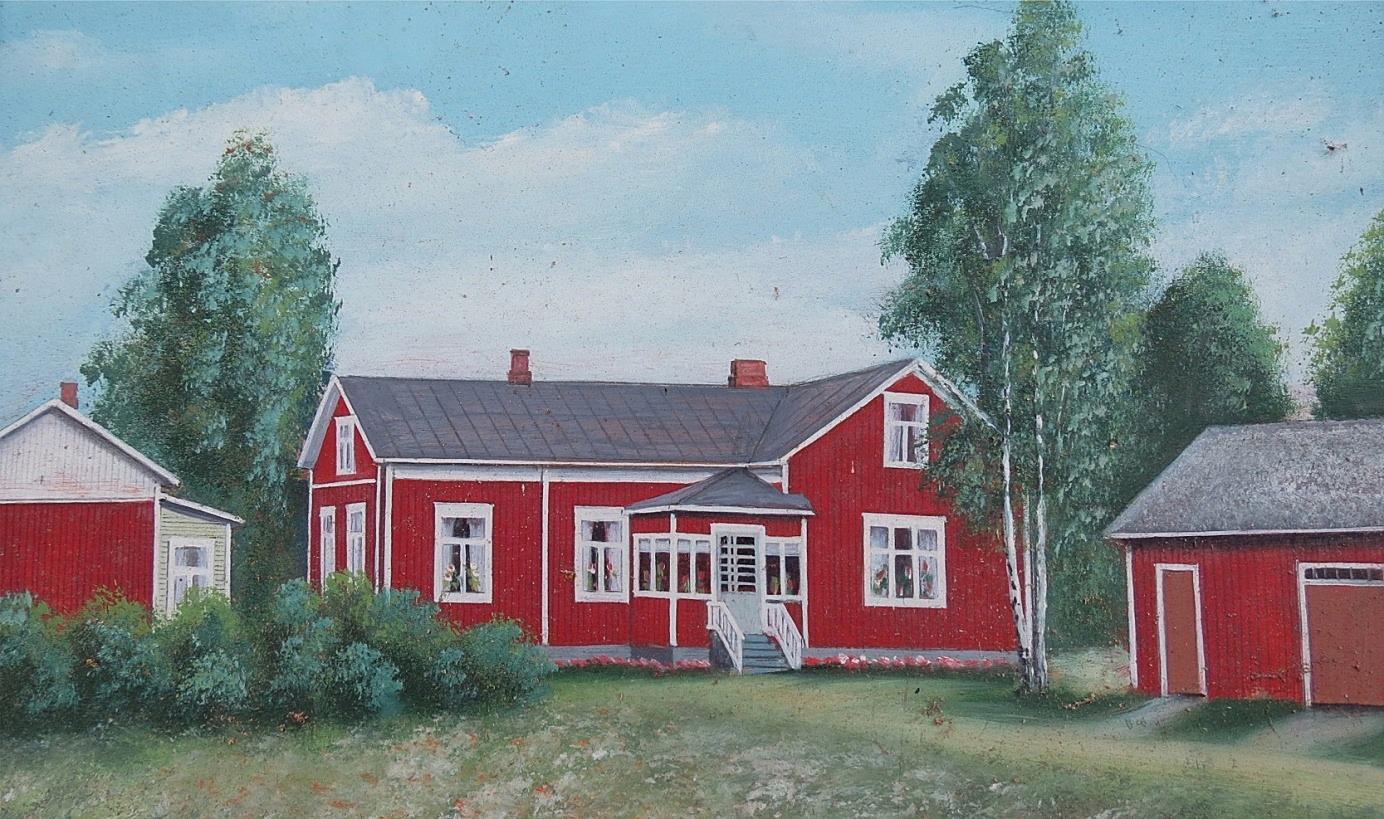 Enligt konstnären Rosblom såg Backlunds gård ut så här i början på 1950-talet efter att huset blivit renoverat.