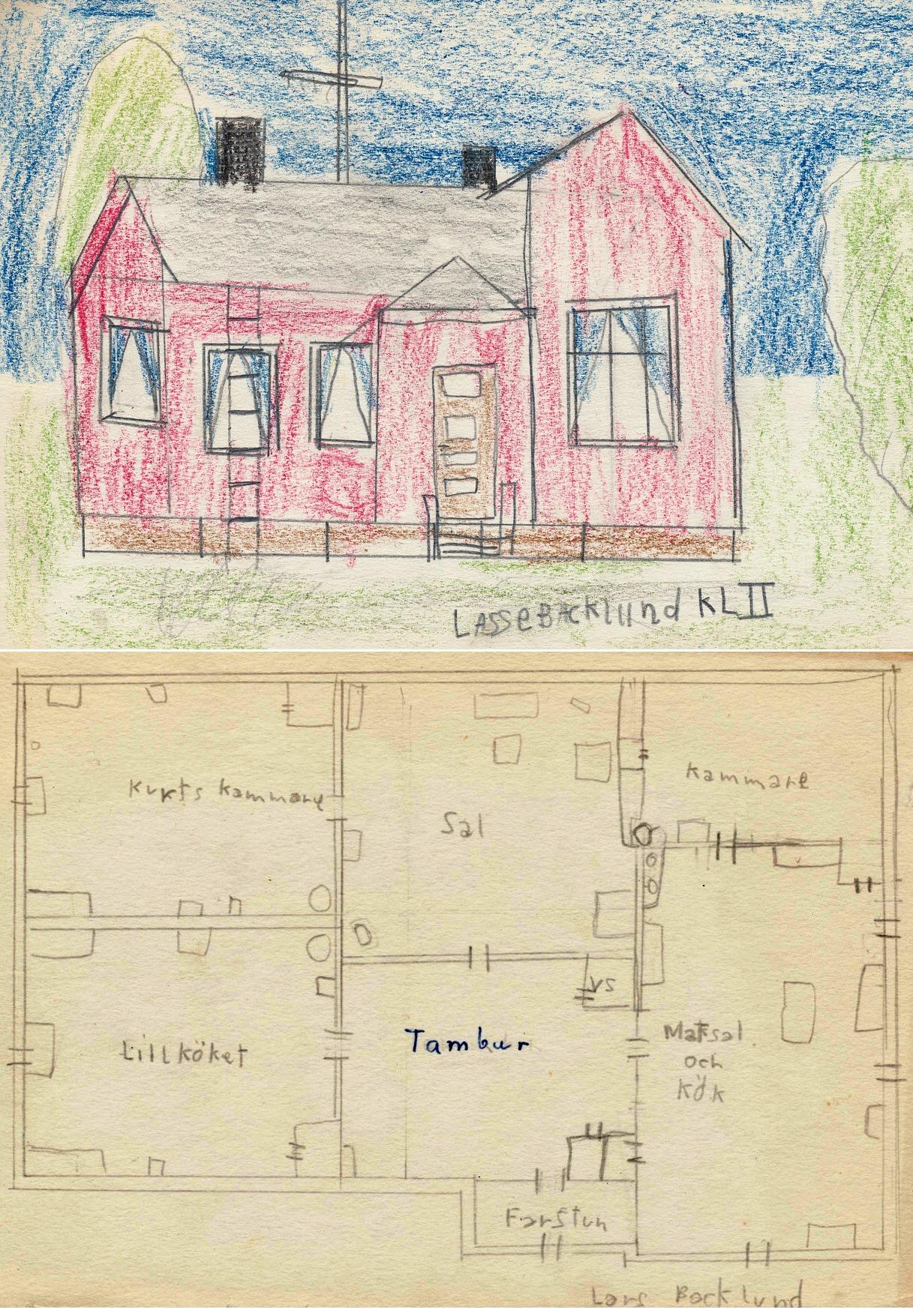 I skolan hörde det till att man på teckningslektionerna skulle göra ritningar och bilder av hemgården. Som det syns så har jag aldrig haft några konstnärliga talanger och det finns stora fel i proportionerna. På den övre bilden ville jag nog helst visa TV-antennen på taket som visade att vi redan 1963 skaffat en TV, en svartvit Luxor som Venzel Smith från Andelshandeln kom och installerade. Sedan satt vi hela familjen och tittade på den enda kanalen som fanns, till på köpet med störningar i bilden eftersom utsändningen den tiden kom från Lappo. Ibland då det var passligt väder gick det att få in sändningar från Sverige via sändaren i Vännes väster om Umeå. Men roligt var det, det gick till och med att sitta och titta på den så kallade testbilden som visades dagtid. På bottenplanen ser vi att det fanns ett rum som vi kallade för Lillköket. Det här var i tiderna Ethels kammare där hon bodde tills hon flyttade till Klemetsändan i början på 50-talet. Senare blev de båda kamrarna i västra ändan pojkarnas rum.