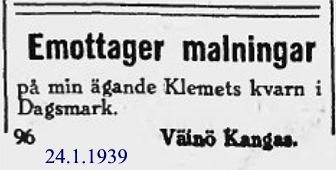 Så här annonserade Väinö Kangas i Syd-Österbotten år 1939.