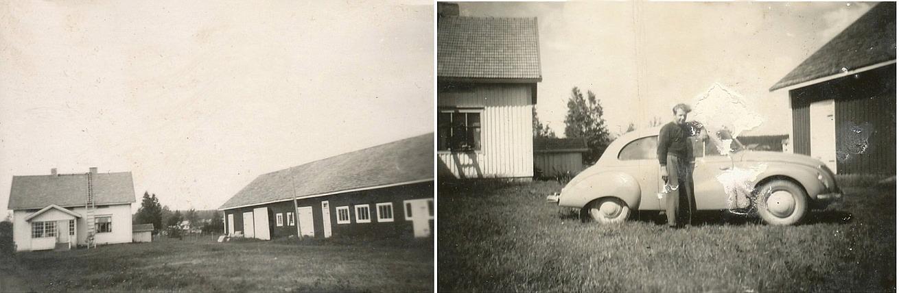 År 1948 började Emil och Ida Backlund att bygga ett nytt hus åt sig och sonen Åke 100 meter västerut från huvudgården. Huset färdigställdes 1950 och de flyttade dit då. Samtidigt byggdes också nödiga uthus med både stall och fähus. Några kor skaffade de aldrig utan det satsades mera på potatisodling. På fotot till höger står Åke framför sin IFA hemma på gården.